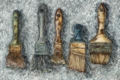 2013 Brush Study: Gesso, Color Pencil, Graphite, Ink, Watercolor